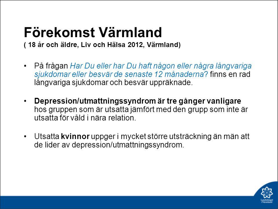Förekomst Värmland ( 18 år och äldre, Liv och Hälsa 2012, Värmland) På frågan Har Du eller har Du haft någon eller några långvariga sjukdomar eller besvär de senaste 12 månaderna.