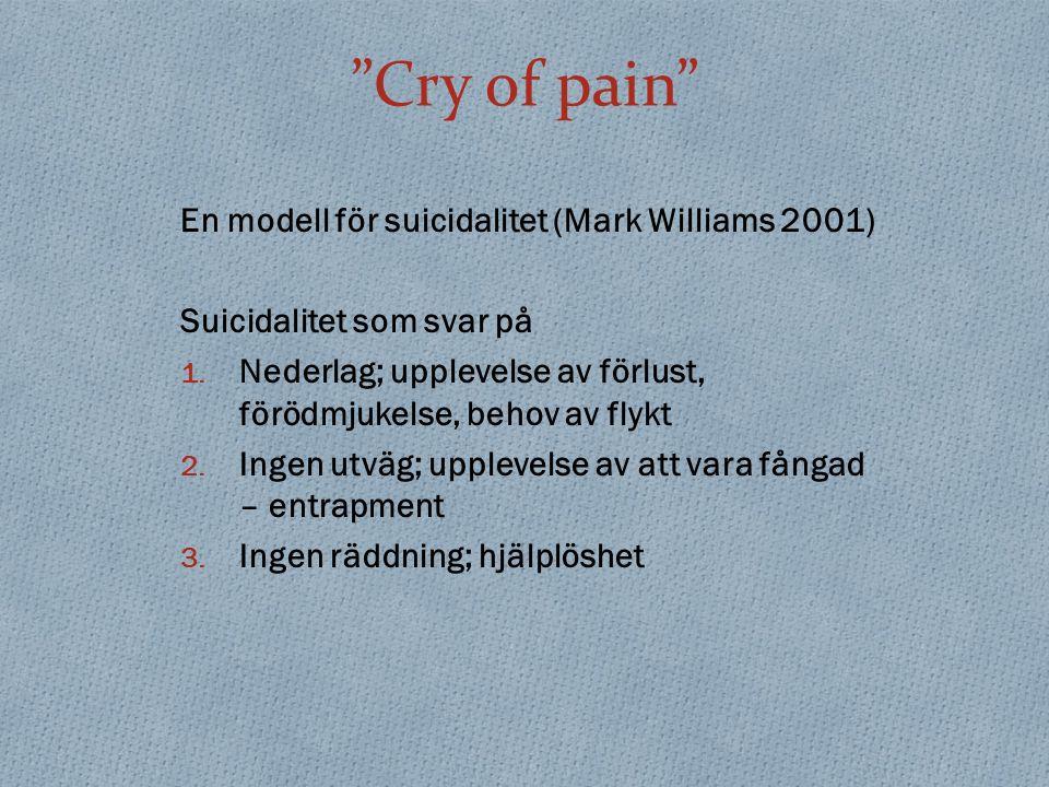 Cry of pain En modell för suicidalitet (Mark Williams 2001) Suicidalitet som svar på 1.