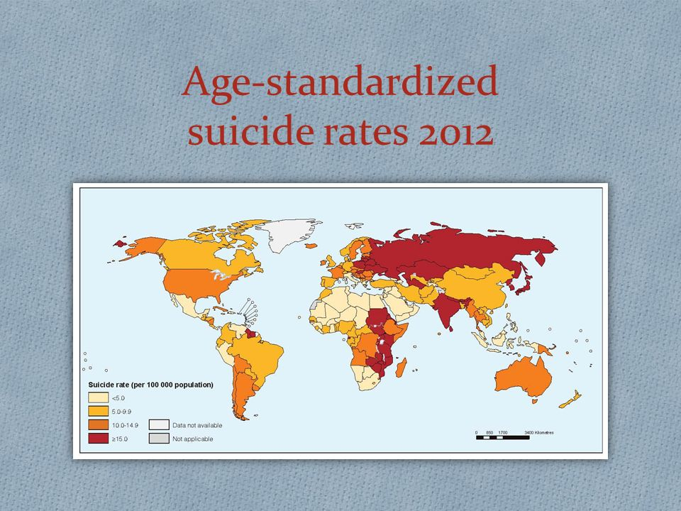 Age-standardized suicide rates 2012