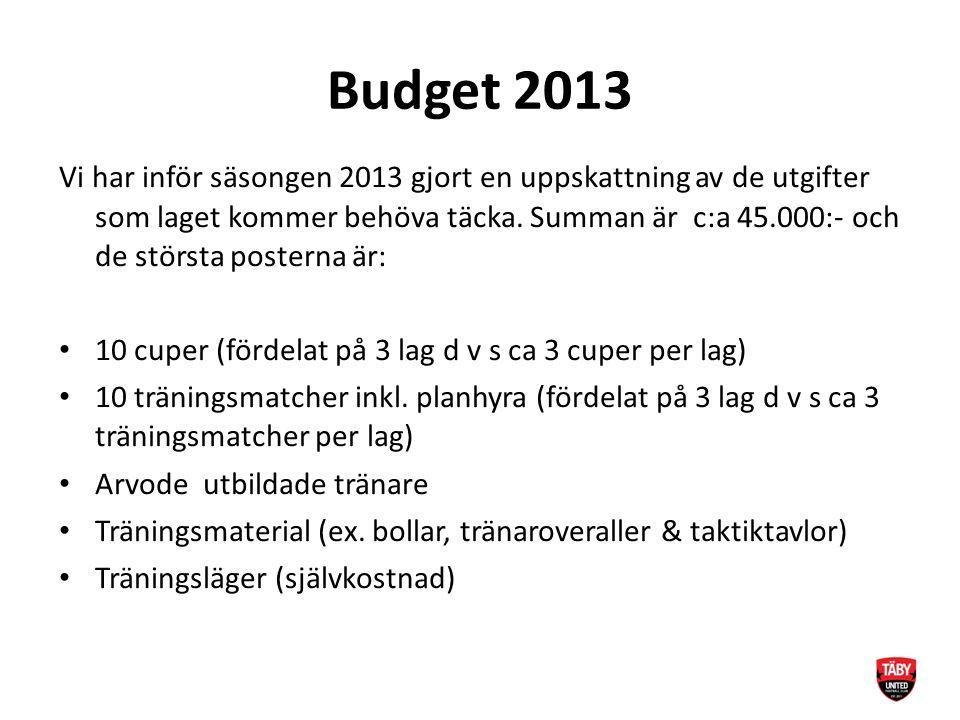 Budget 2013 Vi har inför säsongen 2013 gjort en uppskattning av de utgifter som laget kommer behöva täcka.