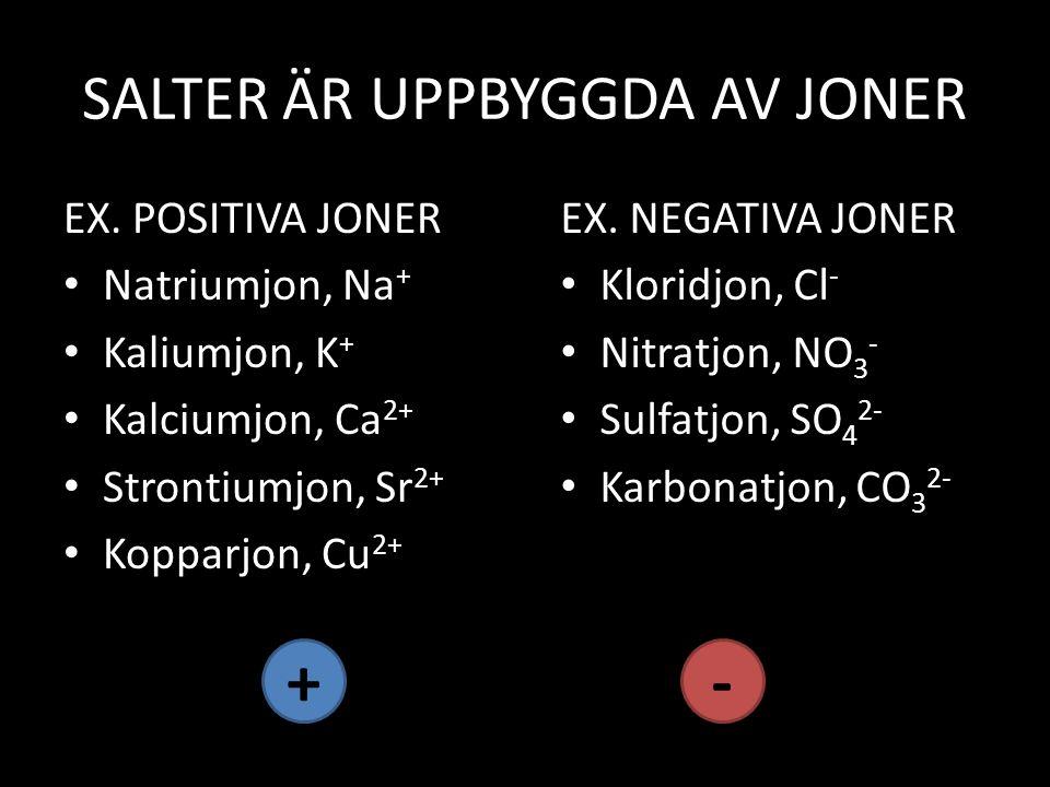 SALTER ÄR UPPBYGGDA AV JONER EX. POSITIVA JONER Natriumjon, Na + Kaliumjon, K + Kalciumjon, Ca 2+ Strontiumjon, Sr 2+ Kopparjon, Cu 2+ EX. NEGATIVA JO