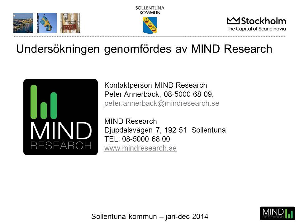 Sollentuna kommun – jan-dec 2014 Undersökningen genomfördes av MIND Research Kontaktperson MIND Research Peter Annerbäck, 08-5000 68 09, peter.annerba