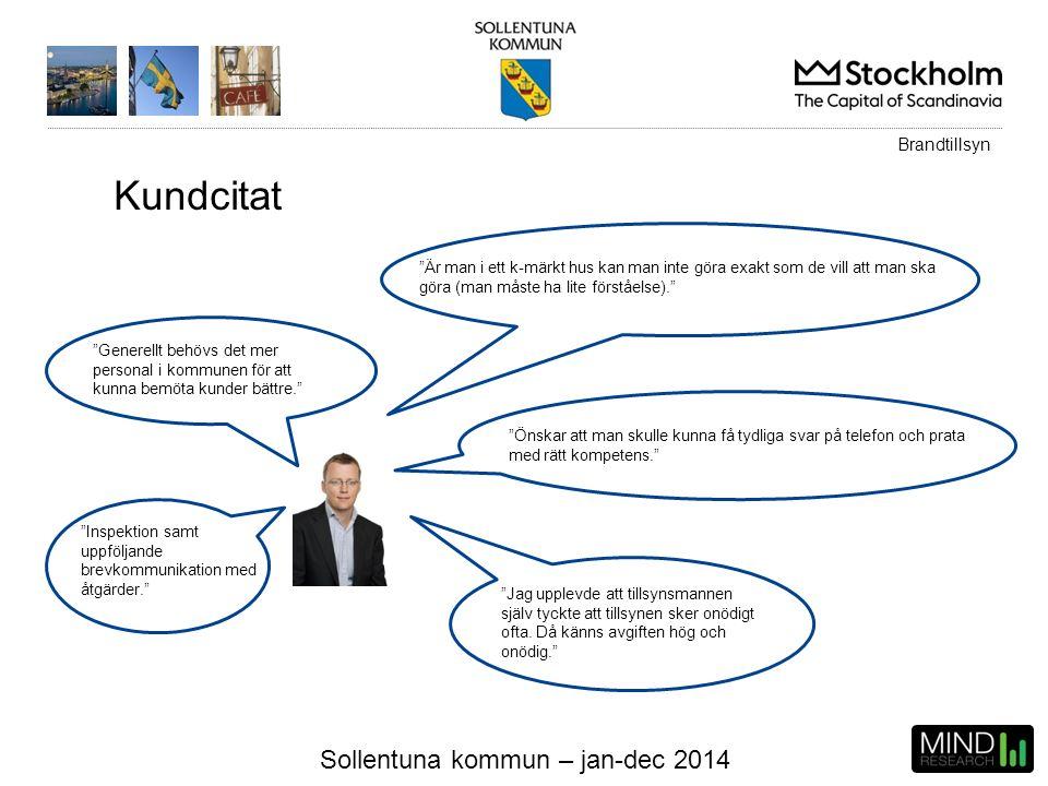 """Sollentuna kommun – jan-dec 2014 Kundcitat """"Generellt behövs det mer personal i kommunen för att kunna bemöta kunder bättre."""" """"Är man i ett k-märkt hu"""