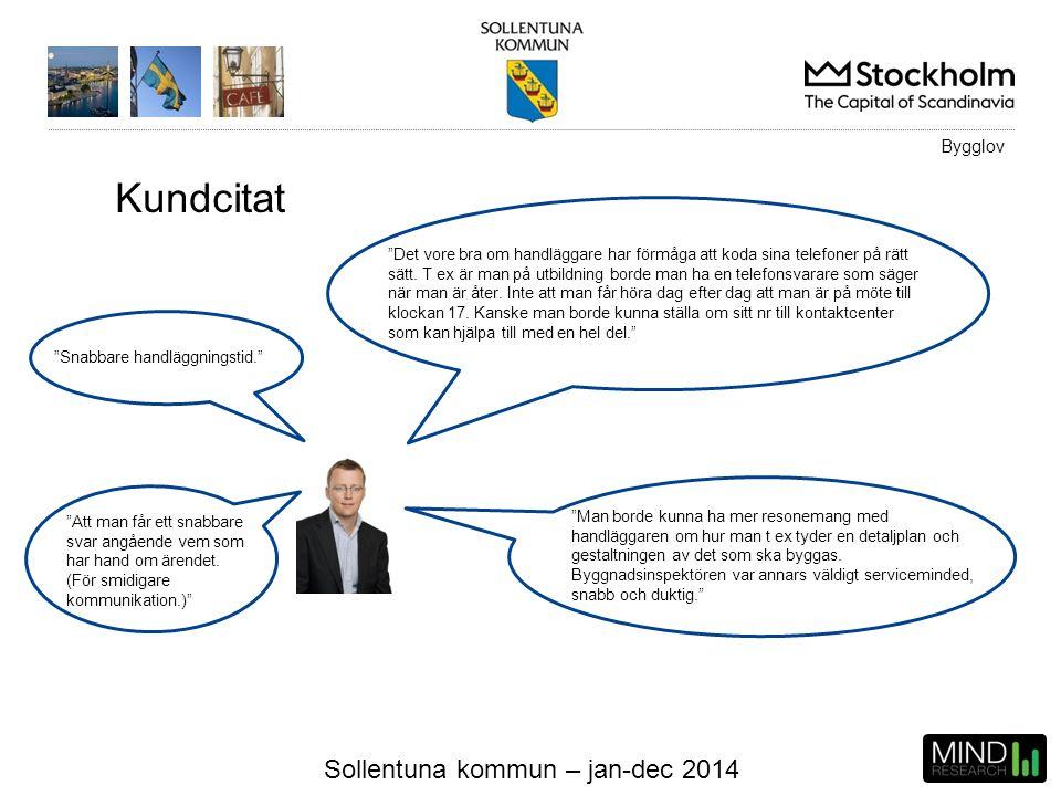 """Sollentuna kommun – jan-dec 2014 Kundcitat """"Det vore bra om handläggare har förmåga att koda sina telefoner på rätt sätt. T ex är man på utbildning bo"""