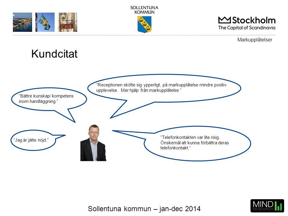 """Sollentuna kommun – jan-dec 2014 Kundcitat """"Bättre kunskap/ kompetens inom handläggning."""" """"Receptionen skötte sig ypperligt, på markupplåtelse mindre"""