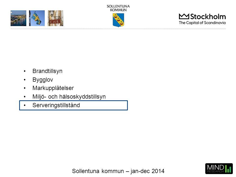 Sollentuna kommun – jan-dec 2014 Verksamhetsområden Brandtillsyn Bygglov Markupplåtelser Miljö- och hälsoskyddstillsyn Serveringstillstånd
