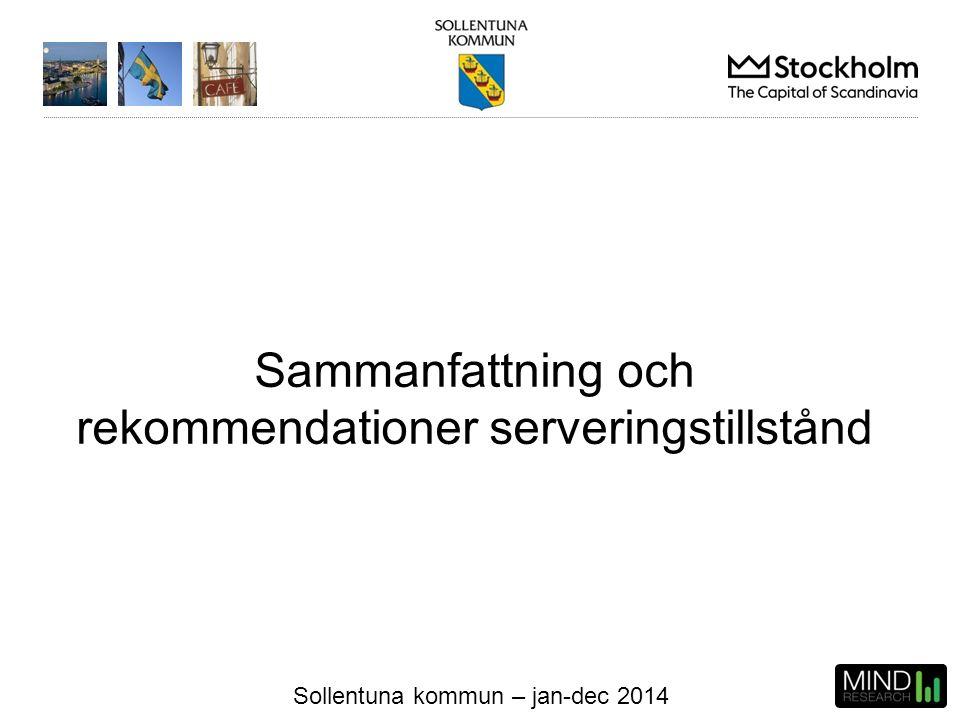 Sollentuna kommun – jan-dec 2014 Sammanfattning och rekommendationer serveringstillstånd