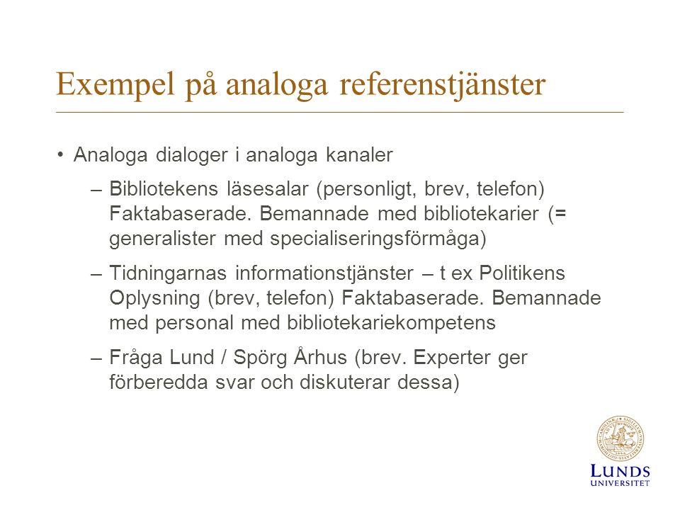 Exempel på analoga referenstjänster Analoga dialoger i analoga kanaler –Bibliotekens läsesalar (personligt, brev, telefon) Faktabaserade.