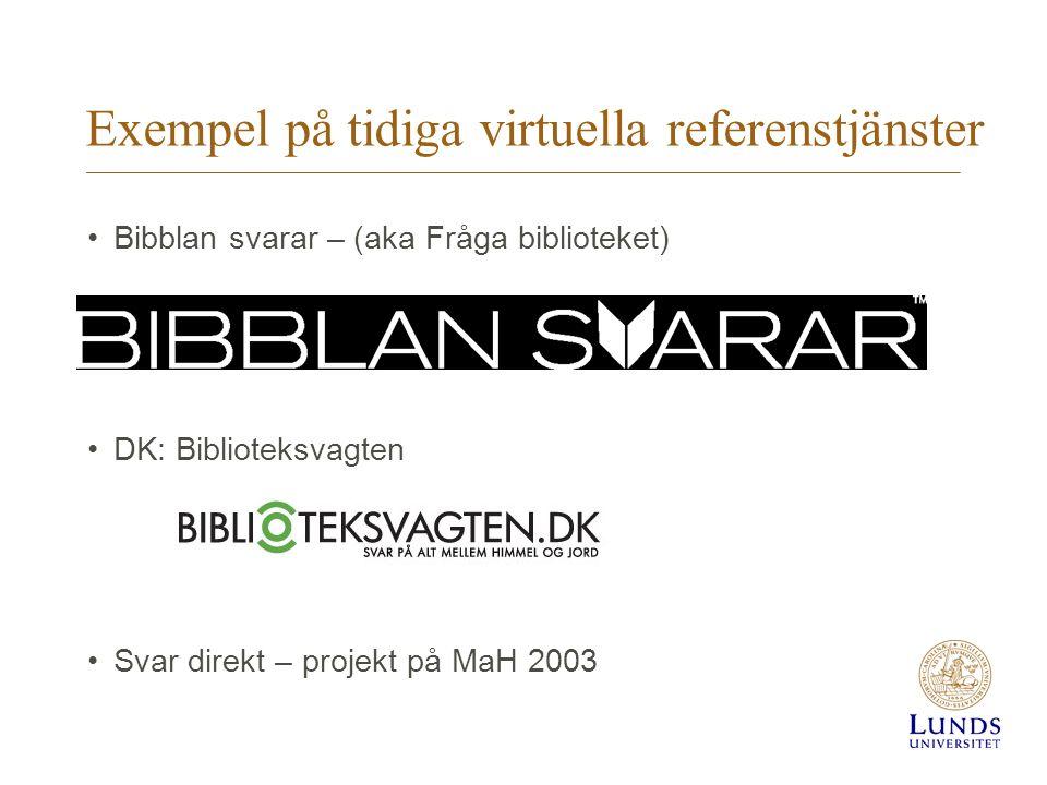 Exempel på tidiga virtuella referenstjänster Bibblan svarar – (aka Fråga biblioteket) DK: Biblioteksvagten Svar direkt – projekt på MaH 2003
