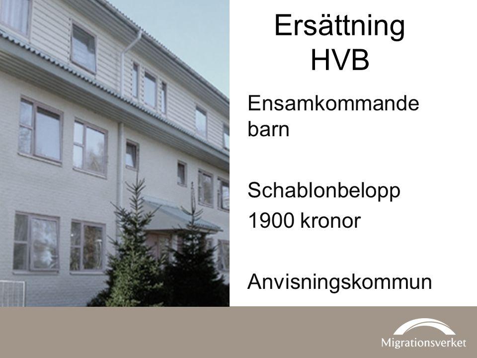 Ersättning HVB Ensamkommande barn Schablonbelopp 1900 kronor Anvisningskommun