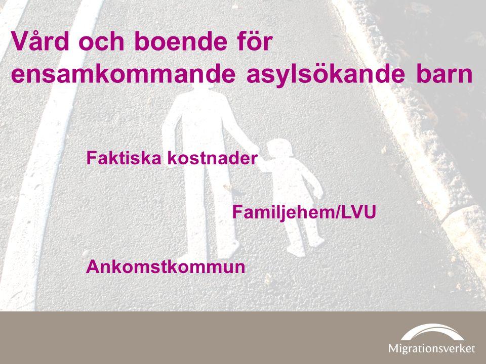Faktiska kostnader Familjehem/LVU Ankomstkommun Vård och boende för ensamkommande asylsökande barn