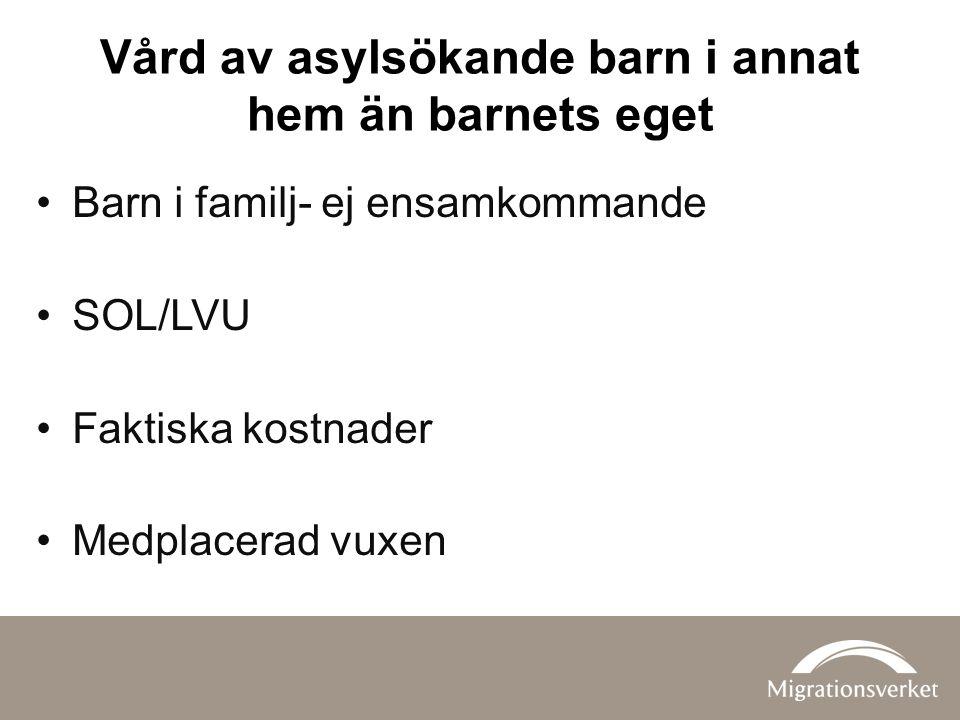 Vård av asylsökande barn i annat hem än barnets eget Barn i familj- ej ensamkommande SOL/LVU Faktiska kostnader Medplacerad vuxen