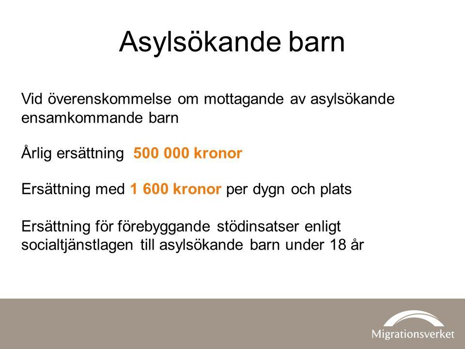 Asylsökande barn Vid överenskommelse om mottagande av asylsökande ensamkommande barn Årlig ersättning 500 000 kronor Ersättning med 1 600 kronor per d