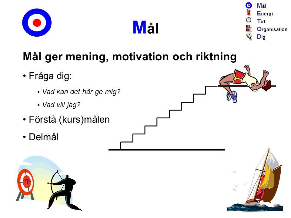 M ål Mål ger mening, motivation och riktning Fråga dig: Vad kan det här ge mig.