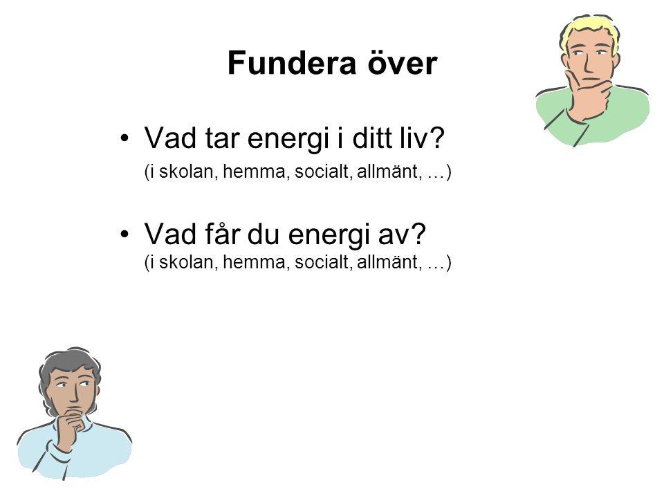 Fundera över Vad tar energi i ditt liv.