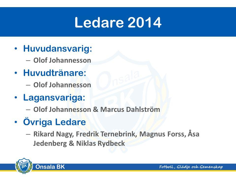 Huvudansvarig: – Olof Johannesson Huvudtränare: – Olof Johannesson Lagansvariga: – Olof Johannesson & Marcus Dahlström Övriga Ledare – Rikard Nagy, Fr