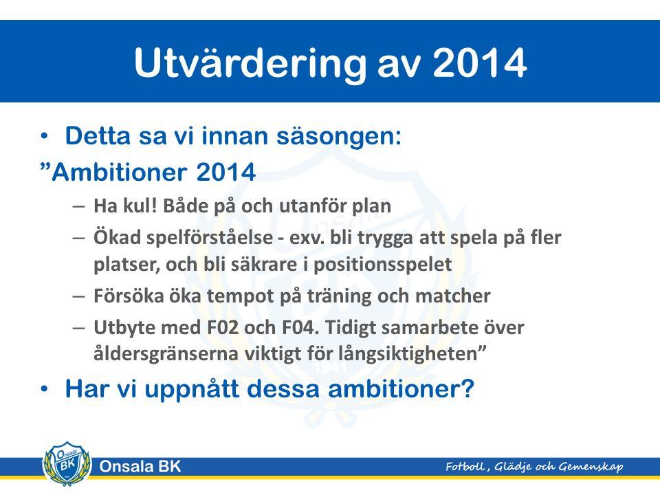 """Detta sa vi innan säsongen: """"Ambitioner 2014 – Ha kul! Både på och utanför plan – Ökad spelförståelse - exv. bli trygga att spela på fler platser, och"""
