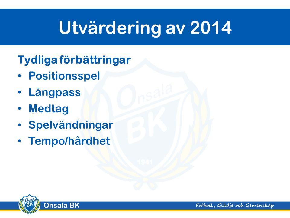 Utvärdering av 2014 Tydliga förbättringar Positionsspel Långpass Medtag Spelvändningar Tempo/hårdhet