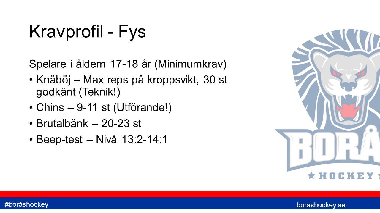 Kravprofil - Fys Spelare i åldern 17-18 år (Minimumkrav) Knäböj – Max reps på kroppsvikt, 30 st godkänt (Teknik!) Chins – 9-11 st (Utförande!) Brutalbänk – 20-23 st Beep-test – Nivå 13:2-14:1 borashockey.se #boråshockey