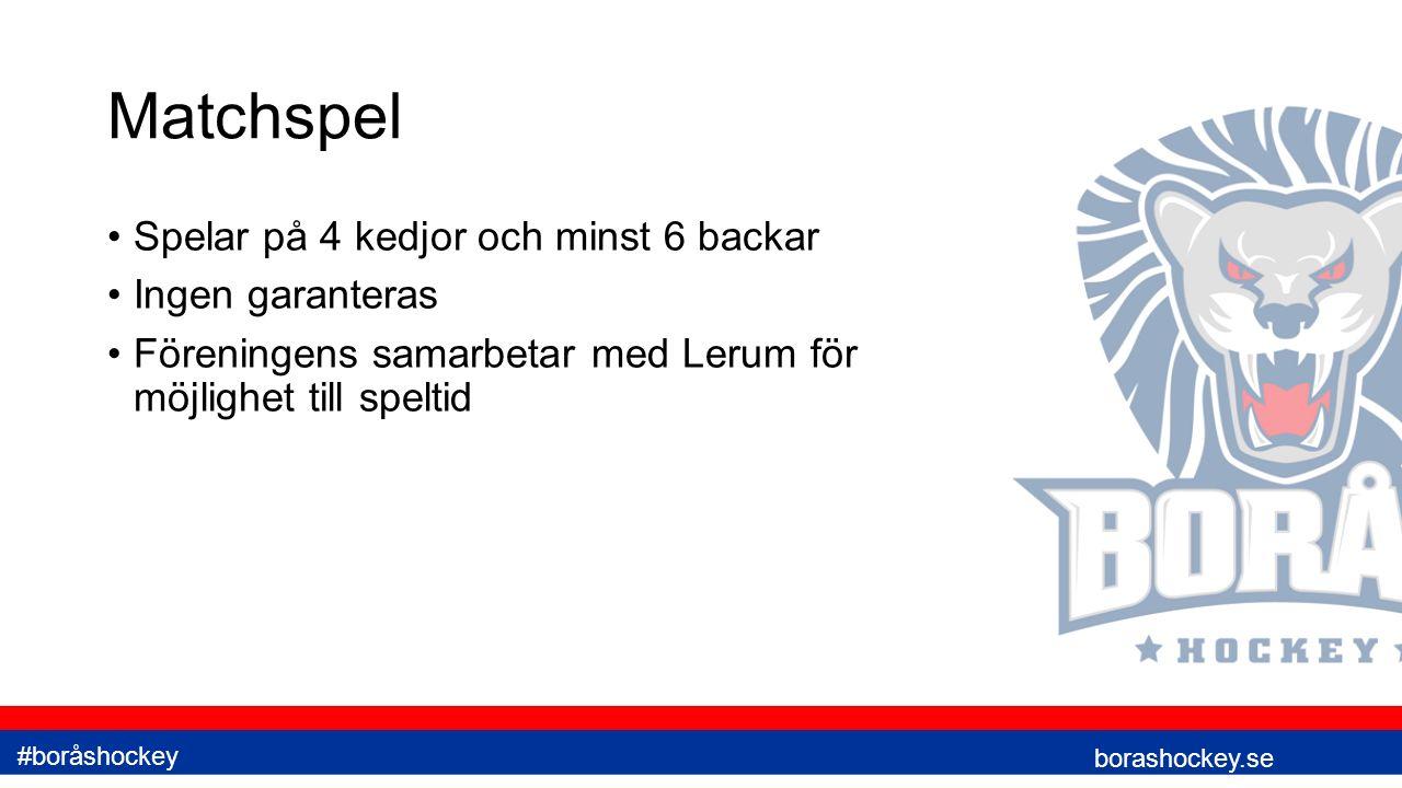 Matchspel Spelar på 4 kedjor och minst 6 backar Ingen garanteras Föreningens samarbetar med Lerum för möjlighet till speltid borashockey.se #boråshockey