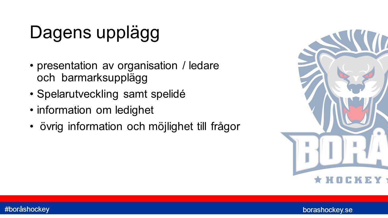 Dagens upplägg presentation av organisation / ledare och barmarksupplägg Spelarutveckling samt spelidé information om ledighet övrig information och möjlighet till frågor borashockey.se #boråshockey