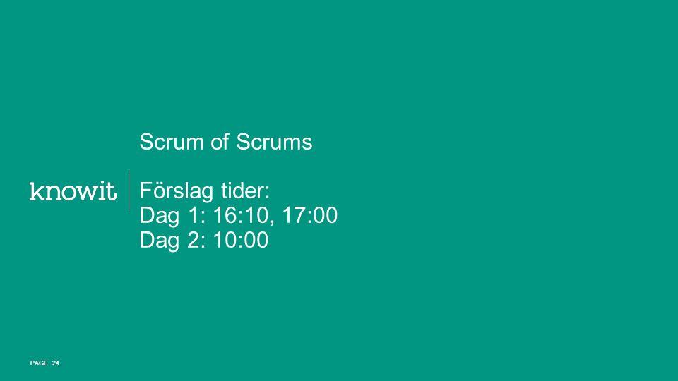 Scrum of Scrums Förslag tider: Dag 1: 16:10, 17:00 Dag 2: 10:00 PAGE 24