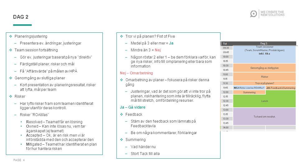 PAGE 45 AGENDA: FÖRBEREDELSER DAG 1  Kolla utrustning och att presentationer fungerar, ev.