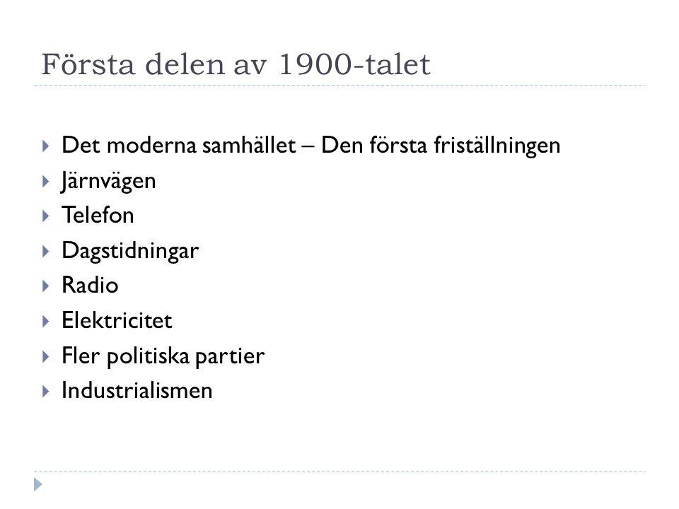 Första delen av 1900-talet  Det moderna samhället – Den första friställningen  Järnvägen  Telefon  Dagstidningar  Radio  Elektricitet  Fler politiska partier  Industrialismen