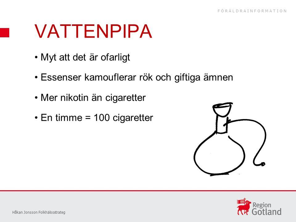 VATTENPIPA Håkan Jonsson Folkhälsostrateg Myt att det är ofarligt Essenser kamouflerar rök och giftiga ämnen Mer nikotin än cigaretter En timme = 100 cigaretter FÖRÄLDRAINFORMATION