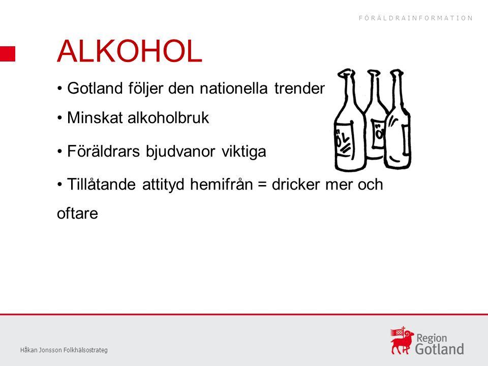 Gotland följer den nationella trenden Minskat alkoholbruk Föräldrars bjudvanor viktiga Tillåtande attityd hemifrån = dricker mer och oftare Håkan Jonsson Folkhälsostrateg ALKOHOL FÖRÄLDRAINFORMATION