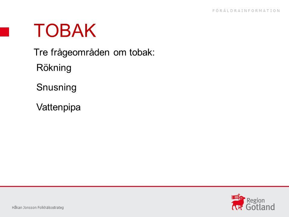 TOBAK Håkan Jonsson Folkhälsostrateg Tre frågeområden om tobak: Rökning Snusning Vattenpipa FÖRÄLDRAINFORMATION