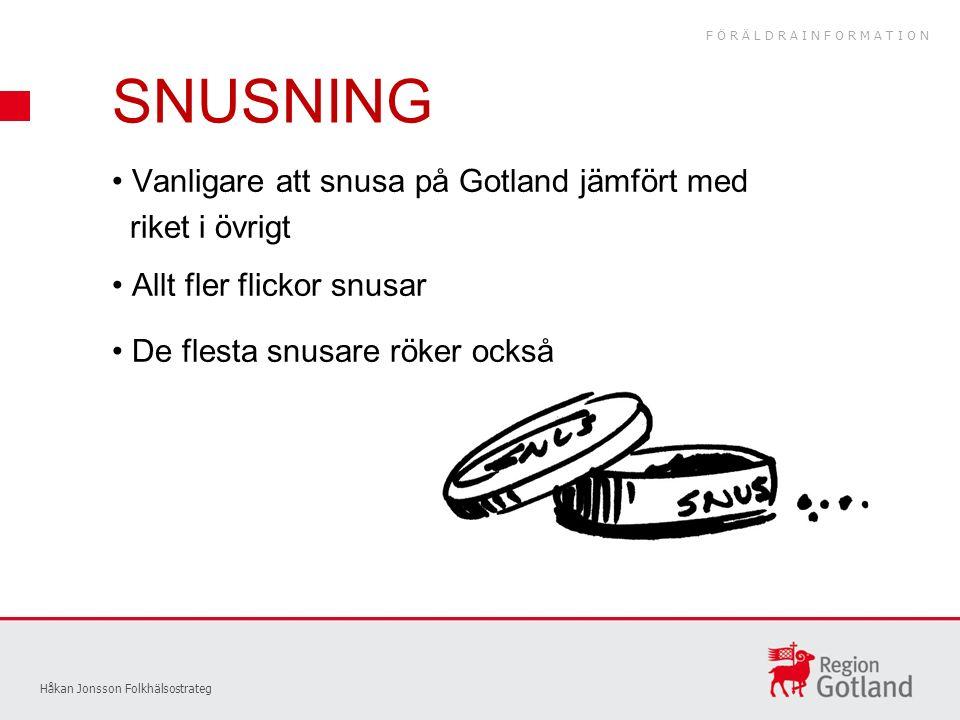 Vanligare att snusa på Gotland jämfört med riket i övrigt Allt fler flickor snusar De flesta snusare röker också Håkan Jonsson Folkhälsostrateg SNUSNING FÖRÄLDRAINFORMATION
