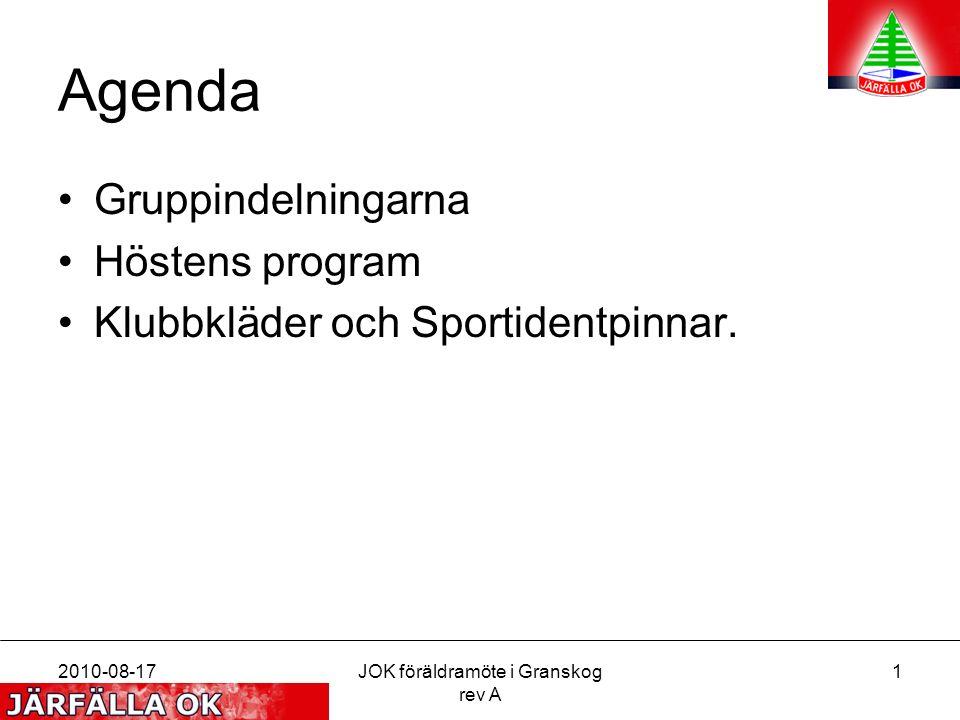 2010-08-17JOK föräldramöte i Granskog rev A 2 Gruppindelning Nya grupper Färgkodat Övar för att nå nästa nivå Tävlar på sin nivå OK att byta grupp