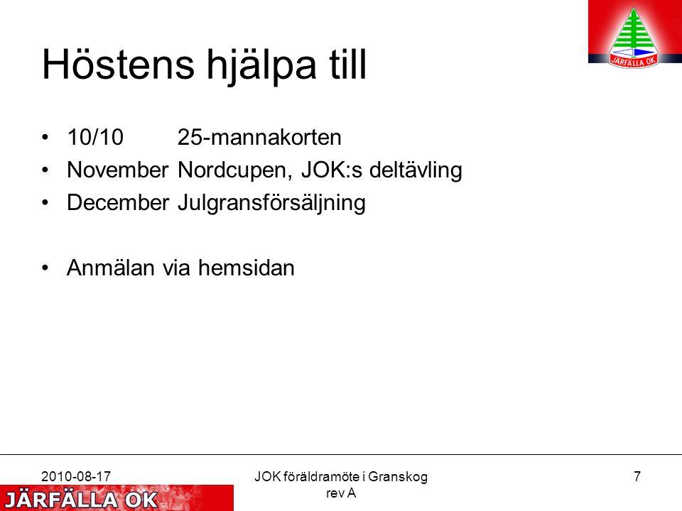 Höstens hjälpa till 10/1025-mannakorten NovemberNordcupen, JOK:s deltävling DecemberJulgransförsäljning Anmälan via hemsidan 2010-08-17JOK föräldramöte i Granskog rev A 7