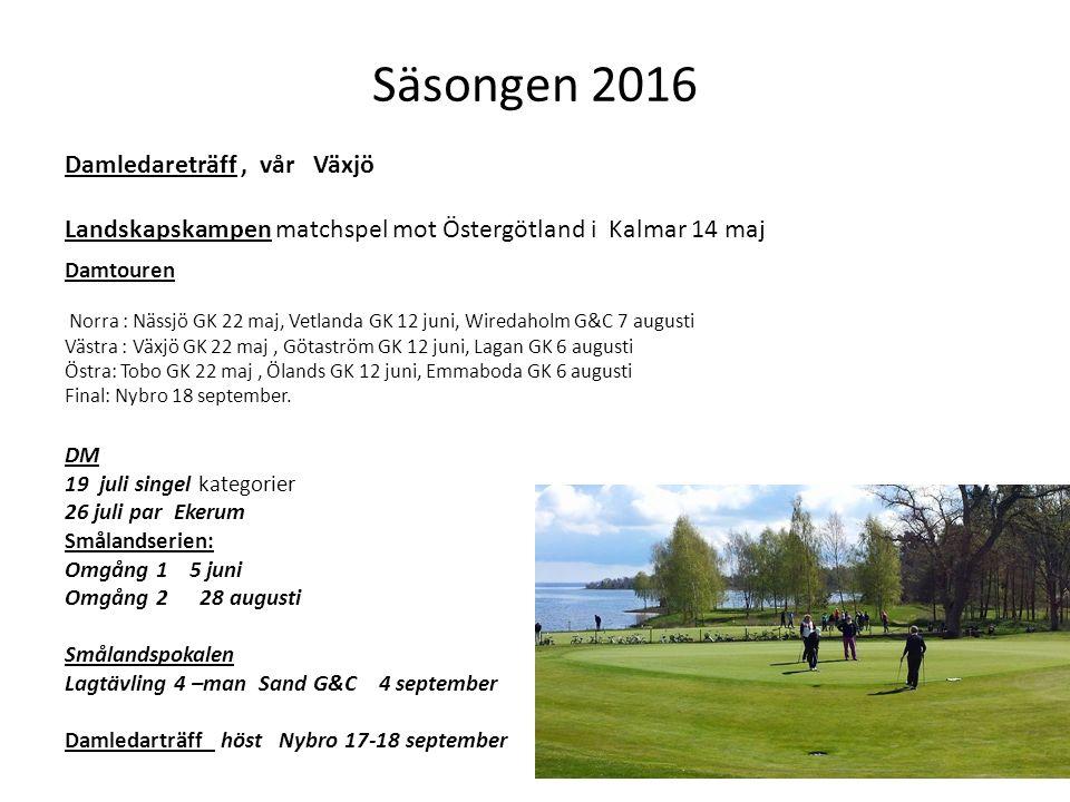 Säsongen 2016 Damledareträff, vår Växjö Landskapskampen matchspel mot Östergötland i Kalmar 14 maj Damtouren Norra : Nässjö GK 22 maj, Vetlanda GK 12