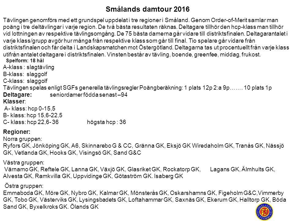 Smålands damtour 2016 Tävlingen genomförs med ett grundspel uppdelat i tre regioner i Småland. Genom Order-of-Merit samlar man poäng i tre deltävlinga