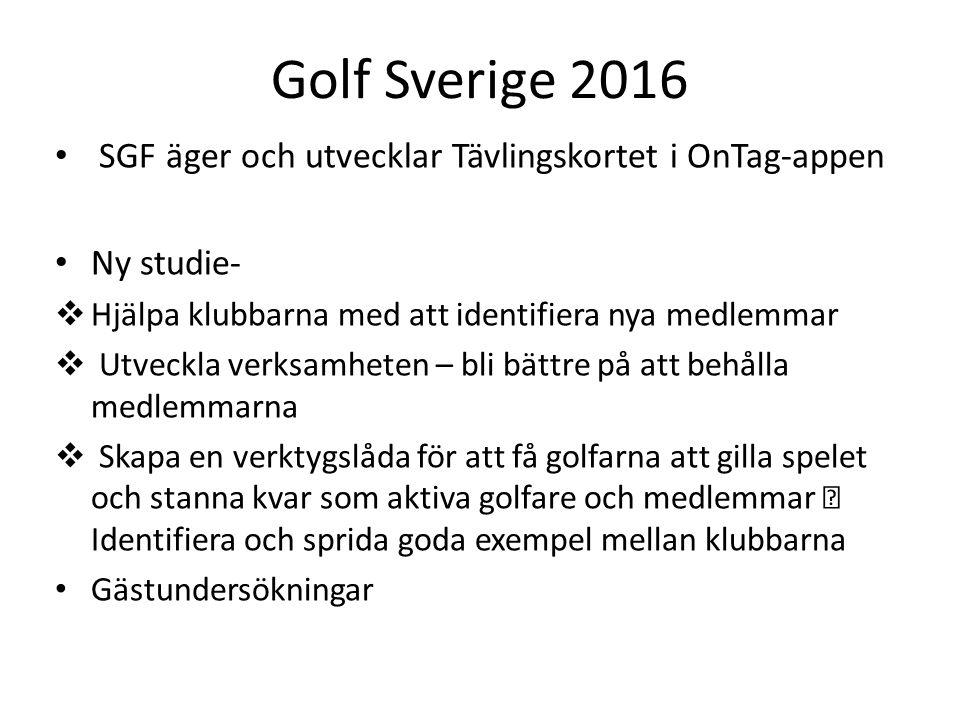 Golf Sverige 2016 SGF äger och utvecklar Tävlingskortet i OnTag-appen Ny studie-  Hjälpa klubbarna med att identifiera nya medlemmar  Utveckla verks