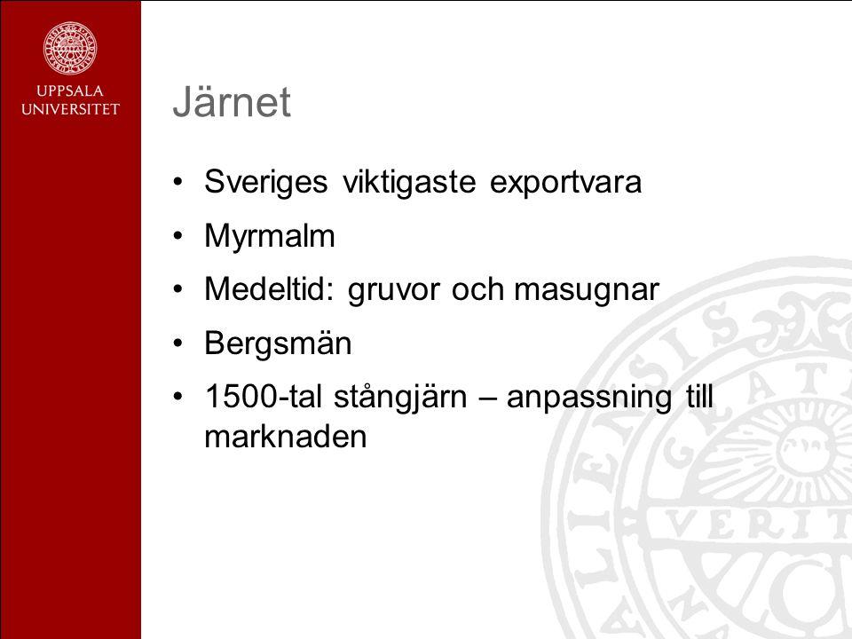 Järnet Sveriges viktigaste exportvara Myrmalm Medeltid: gruvor och masugnar Bergsmän 1500-tal stångjärn – anpassning till marknaden