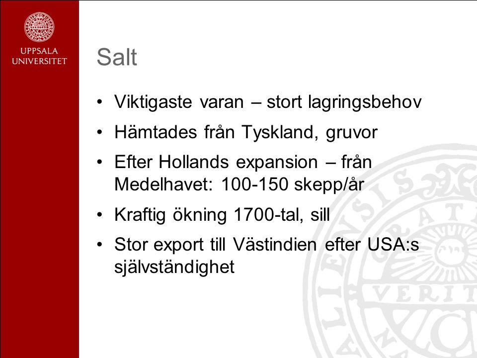 Salt Viktigaste varan – stort lagringsbehov Hämtades från Tyskland, gruvor Efter Hollands expansion – från Medelhavet: 100-150 skepp/år Kraftig ökning 1700-tal, sill Stor export till Västindien efter USA:s självständighet