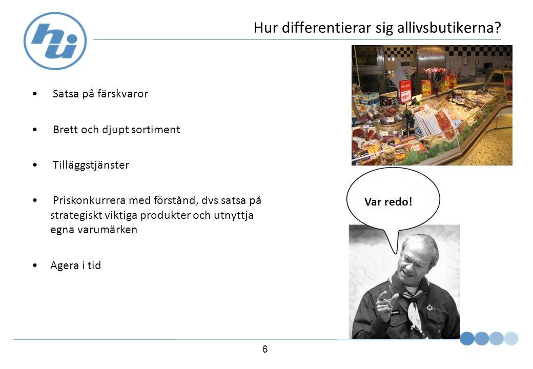 6 Hur differentierar sig allivsbutikerna.