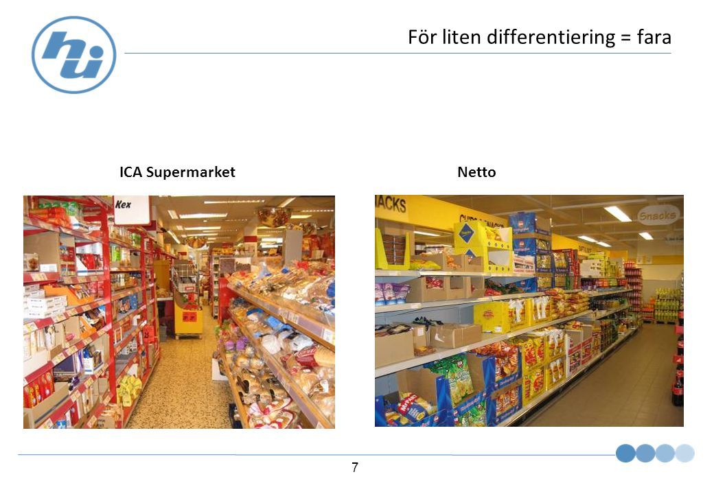 7 För liten differentiering = fara ICA SupermarketNetto