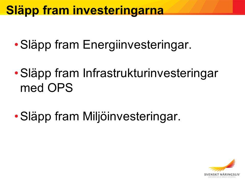 Släpp fram investeringarna Släpp fram Energiinvesteringar. Släpp fram Infrastrukturinvesteringar med OPS Släpp fram Miljöinvesteringar.