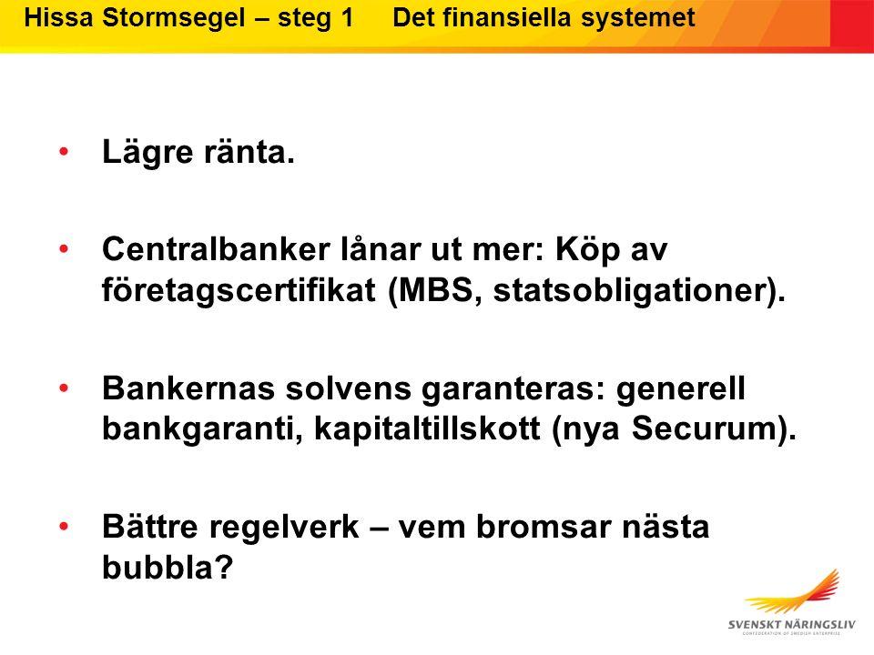Hissa Stormsegel – steg 1 Det finansiella systemet Lägre ränta. Centralbanker lånar ut mer: Köp av företagscertifikat (MBS, statsobligationer). Banker