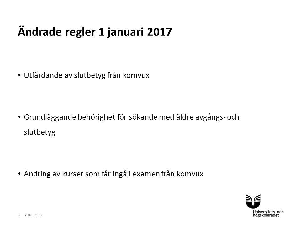 Sv Utfärdande av slutbetyg från komvux Grundläggande behörighet för sökande med äldre avgångs- och slutbetyg Ändring av kurser som får ingå i examen från komvux 2016-05-02 3 Ändrade regler 1 januari 2017
