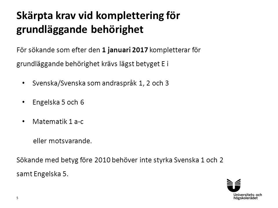 Sv För sökande som efter den 1 januari 2017 kompletterar för grundläggande behörighet krävs lägst betyget E i Svenska/Svenska som andraspråk 1, 2 och 3 Engelska 5 och 6 Matematik 1 a-c eller motsvarande.