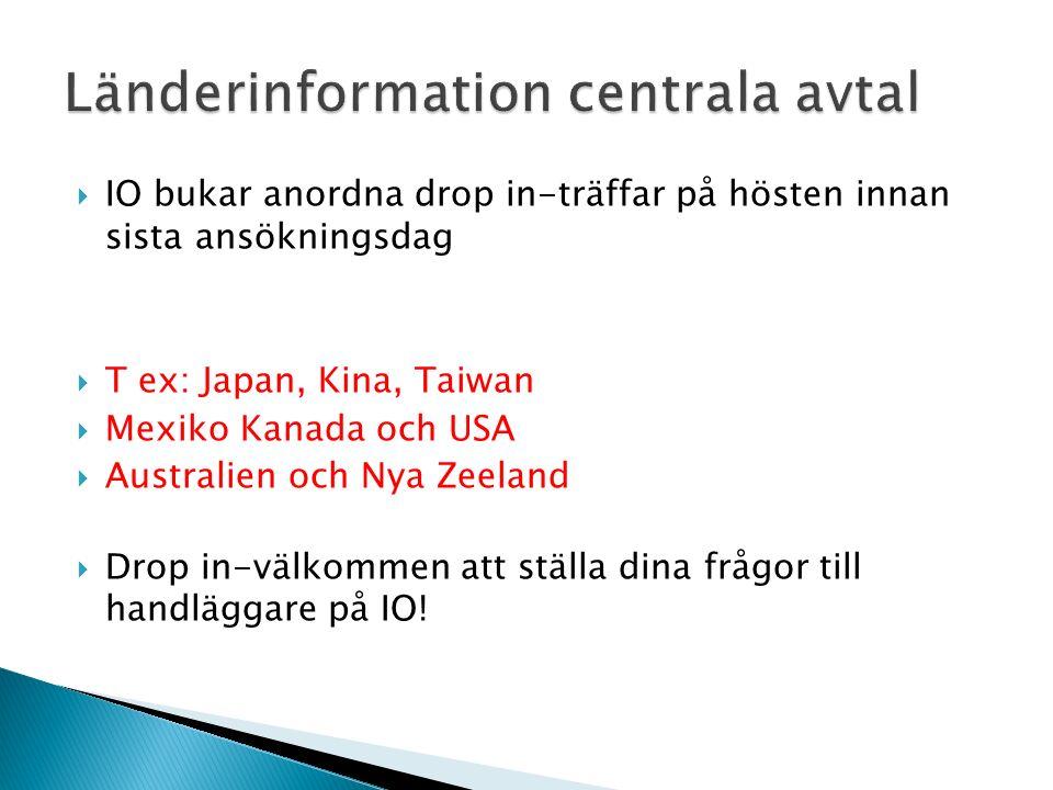  IO bukar anordna drop in-träffar på hösten innan sista ansökningsdag  T ex: Japan, Kina, Taiwan  Mexiko Kanada och USA  Australien och Nya Zeeland  Drop in-välkommen att ställa dina frågor till handläggare på IO!