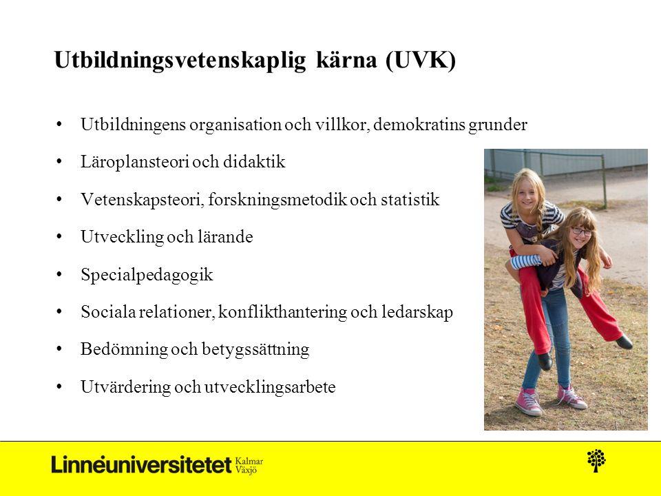 Utbildningsvetenskaplig kärna (UVK) Utbildningens organisation och villkor, demokratins grunder Läroplansteori och didaktik Vetenskapsteori, forskning
