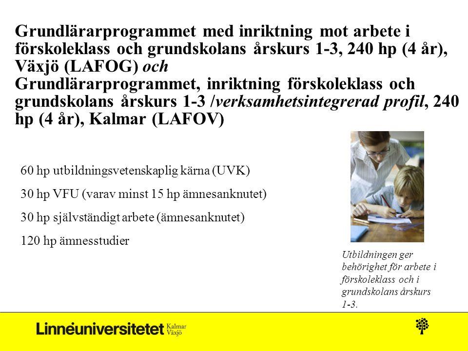 Grundlärarprogrammet med inriktning mot arbete i förskoleklass och grundskolans årskurs 1-3, 240 hp (4 år), Växjö (LAFOG) och Grundlärarprogrammet, inriktning förskoleklass och grundskolans årskurs 1-3 /verksamhetsintegrerad profil, 240 hp (4 år), Kalmar (LAFOV) 60 hp utbildningsvetenskaplig kärna (UVK) 30 hp VFU (varav minst 15 hp ämnesanknutet) 30 hp självständigt arbete (ämnesanknutet) 120 hp ämnesstudier Utbildningen ger behörighet för arbete i förskoleklass och i grundskolans årskurs 1-3.