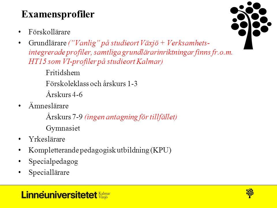 """Examensprofiler Förskollärare Grundlärare (""""Vanlig"""" på studieort Växjö + Verksamhets- integrerade profiler, samtliga grundlärarinriktningar finns fr.o"""