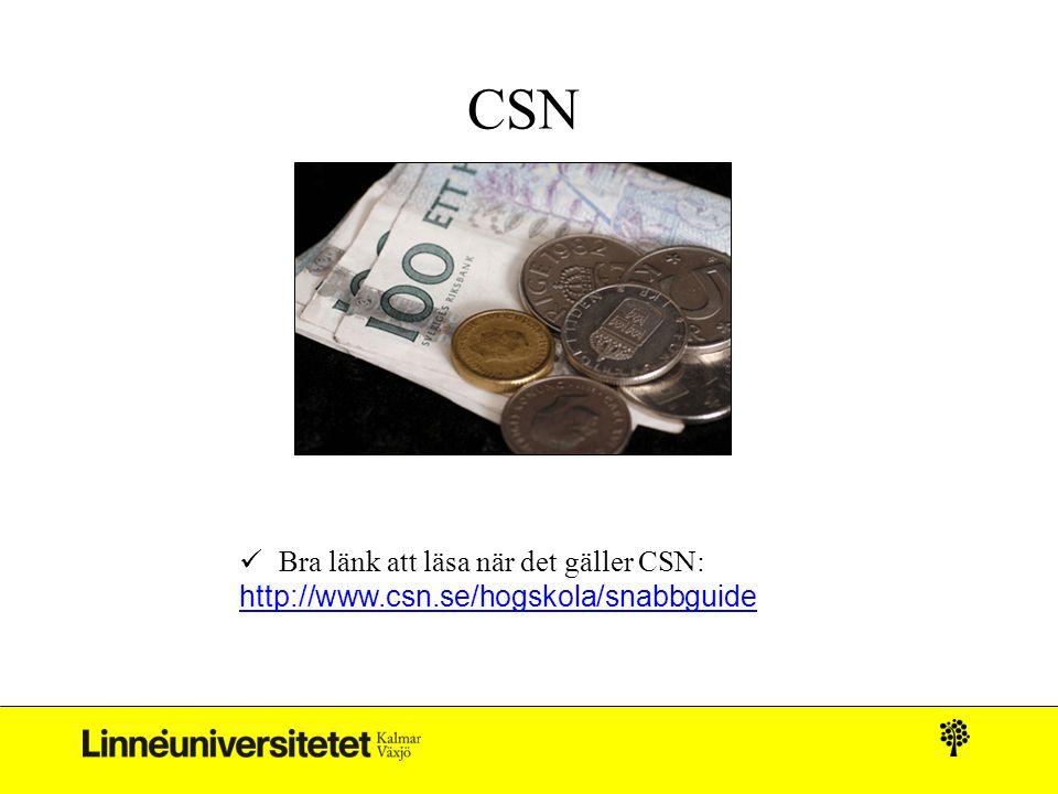CSN Bra länk att läsa när det gäller CSN: http://www.csn.se/hogskola/snabbguide